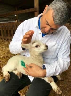 Kishan with lamb